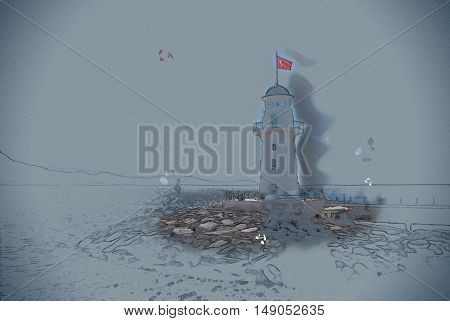 lighthouse in Alanya. Vintage painting, background illustration, beautiful picture, travel texture