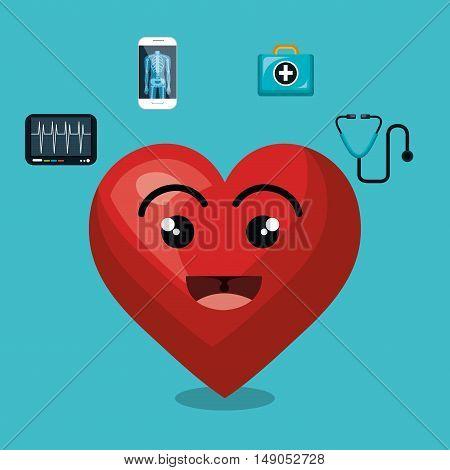cartoon heart icon medical design isolated vector illustration eps 10