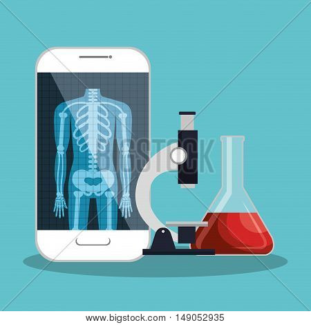 smartphone app microscope and test tube lab design vector illustration