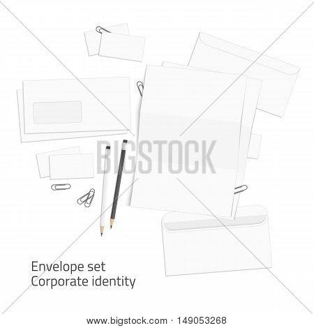 Blank corporate identity set. Branding design. Mock-up for design presentations and portfolios. Illustration of Envelope and card, pencil, letterhead.
