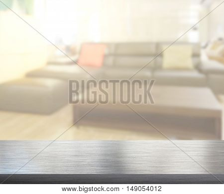 Table Top And Blur Living Room Of Background