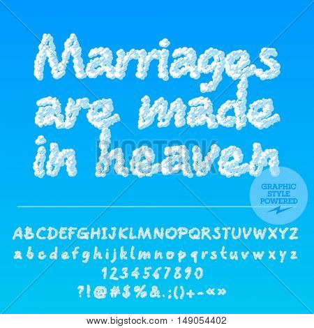 Vector wedding greeting card with set of letters, symbols and numbers