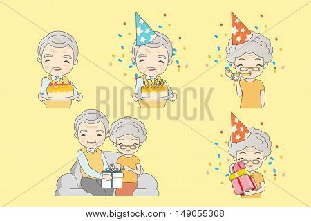 Old coupl ecelebration birthday great for your design