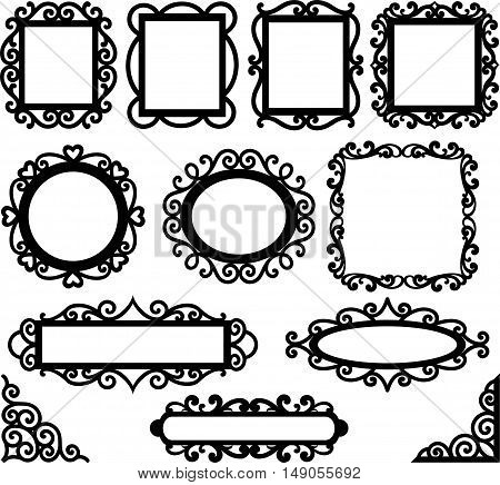 Set of floral decorative frames and corners. Page decor elements