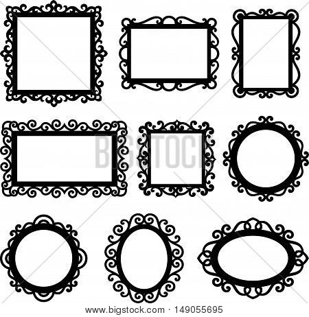 Vector set of decorative ornamental frame silhouettes