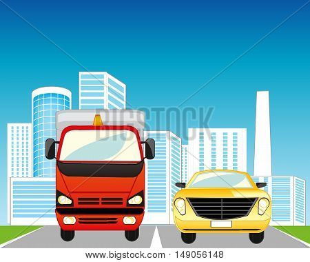 The City and road with two cars.Vector illustration