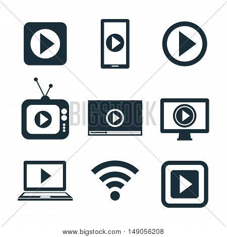 collection icons live streaming desing graphic vector illustration