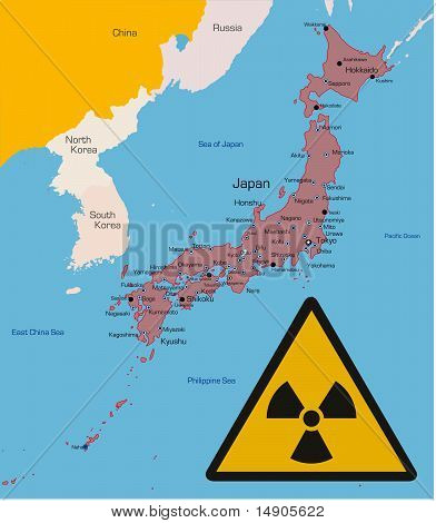 Japan country with radiation sign