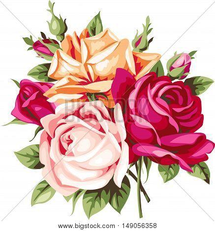 Decorative vintage bouquet of roses. Vector flowers