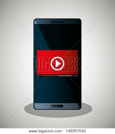 smartphone video line streaming icon design vector illustration