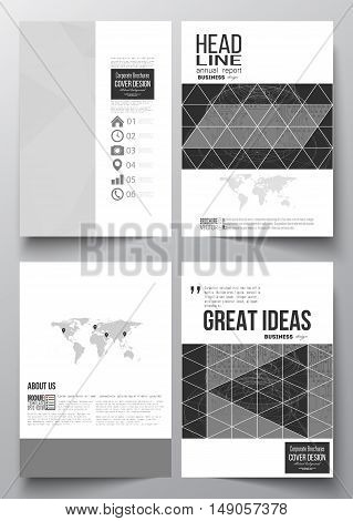 Set of business templates for brochure magazine flyer booklet or annual report. Microchip background electrical circuits construction with connected lines scientific or digital design template