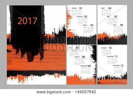 Vertical 2017 vector grungy calendar design with cover and 4 pages. Elements for your work. Eps10