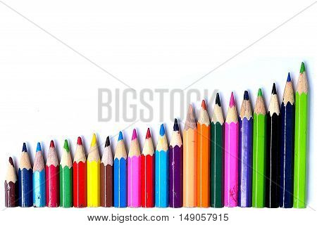 pencil mixed color isolated on white background