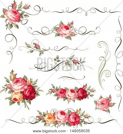 Calligraphic floral ornament with vintage roses for page decoration. Vector antique flowers