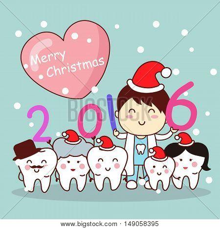 christmas and cute cartoon dentist with cartoon tooth family