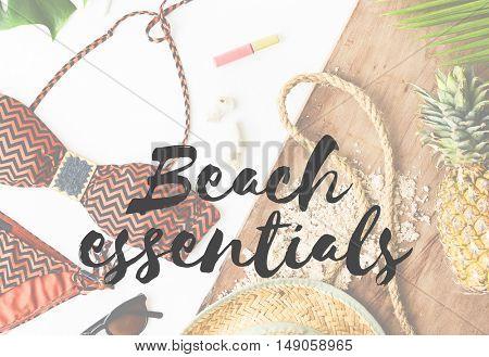 Summer Break Vacation Holiday Bikini Words Concept