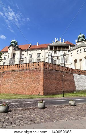 Wawel Royal Castle with defensive wall Krakow Poland