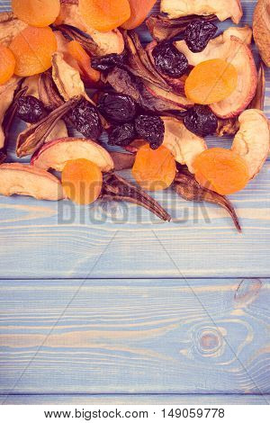Vintage Photo, Ingredients For Preparing Compote Of Dried Fruits, Healthy Nutrition, Copy Space For