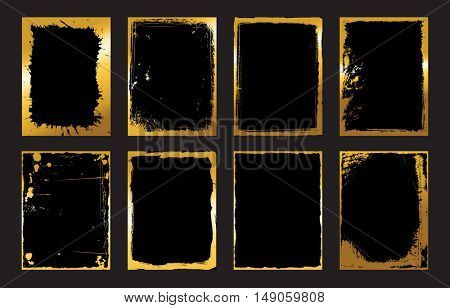 Set of Black and Gold Design Templates for Brochures, Flyers, abstract Modern Backgrounds.