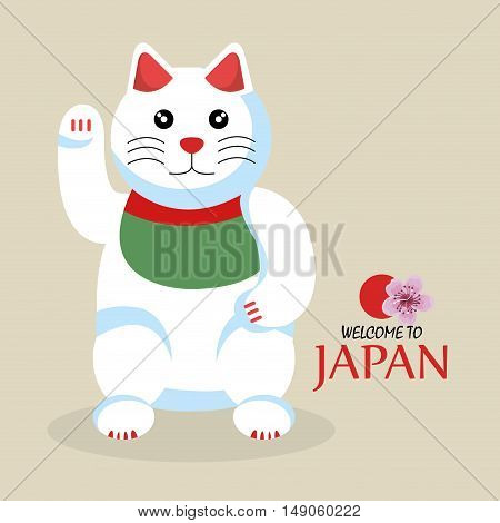 cat cartoon icon traditional culture japan design vector illustration eps 10