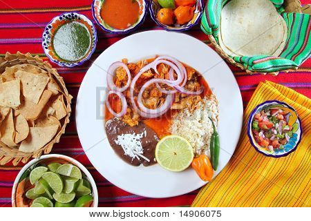 Fajitas Mexican Food With Rice Frijoles Chili Sauce