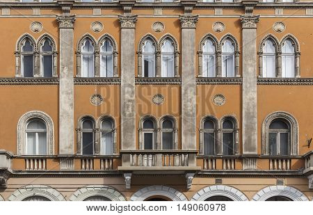 Facade of old beautiful building in Budapest