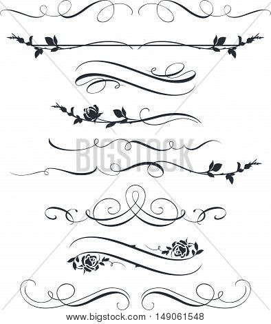 Set of calligraphic floral elements. Decorative roses silhouettes. Page decor ornaments