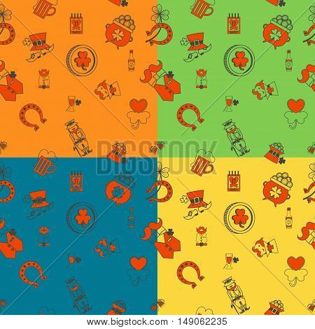 Saint Patricks Day Seamless Pattern. Four Background in Different Colors. Vector. Clean Work Minimum Points