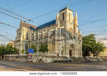 GENEVA,SWITZERLAND - AUGUST 27,2016 - Notre Dame church in Geneva. Geneva is a global city a financial center and worldwide center for diplomacy.