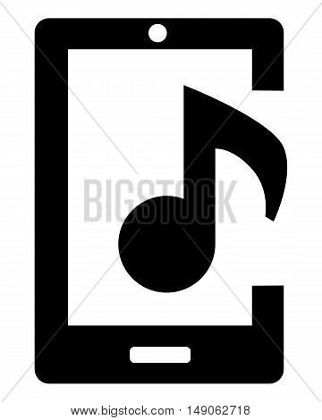 Mobile phone with music sign phone isolated review