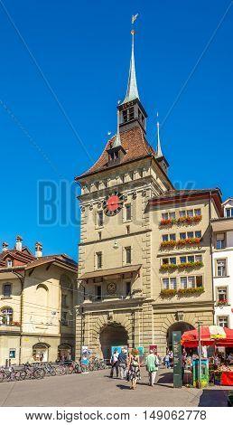 BERN,SWITZERLAND - AUGUST 26,2016 - Clock tower in the streets of Bern. Bern is capital of Switzerland.