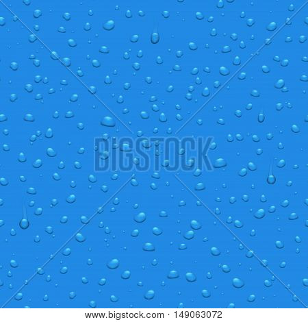 Transparent water drops vector seamless pattern. Background with dew illustration