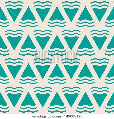 Green abstract geometric seamless pattern. Decoration retro design background, vector illustration