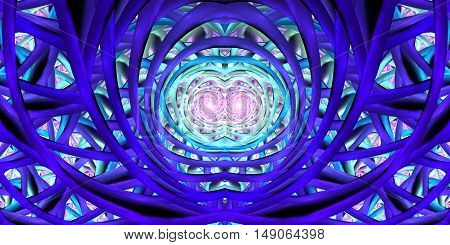 Abstract mosaic ornament in royal blue turquoise pink and black colors. Symmetric pattern on black background. Colorful fractal design for posters or clothes. Digital art. 3D rendering.