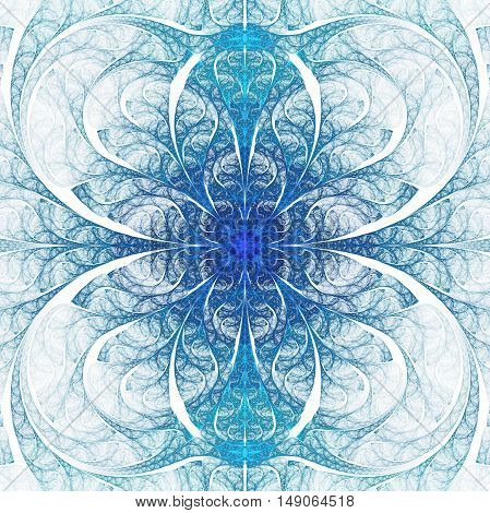 Abstract flower ornament on white background. Symmetric fractal pattern in blue colors. Mandala design for posters postcards wallpapers or t-shirts. Digital art. 3D rendering.
