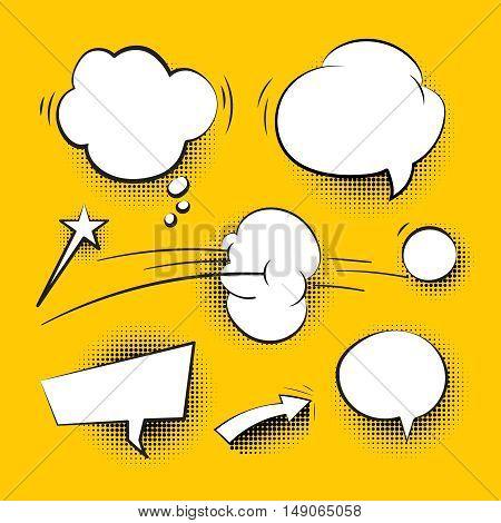 Comic cartoon speech bubbles with halftone shadows vector. Set of white speech bubble illustration