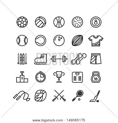 Sports wear equipment line vector icons set. Ball for basketball and tennis, soccer and baseball game illustration