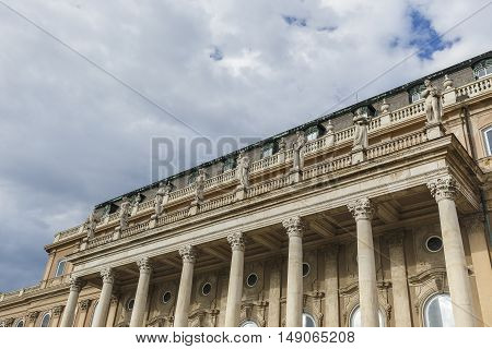 Statues on the facade of the royal residence in Buda Castle.Budapest