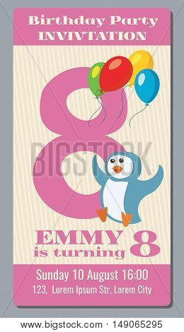 Birthday party invitation pass vector ticket with funny penguin for kids 8 years old. Birthday event with character penguin illustration