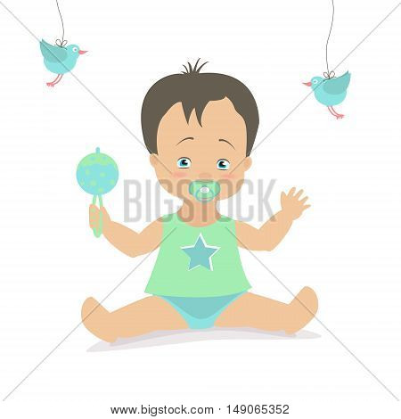 Baby boy sitting with a rattle. Vector cartoon illustration. Caucasian