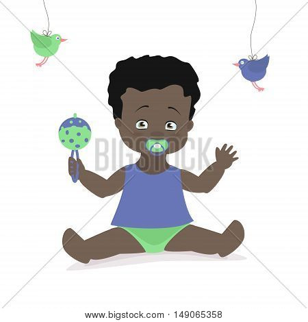 Baby boy sitting with a rattle. Vector cartoon illustration. American African