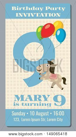 Birthday party invitation card with cute horse vector template 9 years old. Poster invintation to birthday celebrate illustration
