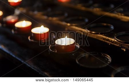 Candles lit in the temple spirituality background