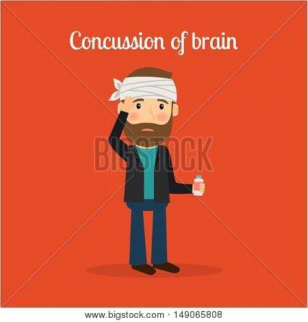 Disabled people in cartoon, concussion of brain. Vector illustration