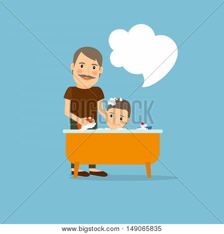 Father washing baby cartoon icon. Vector illustration