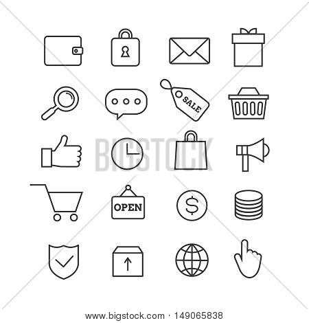E-commerce shopping thin line vector icons set. Marketing business, internet commerce market illustration