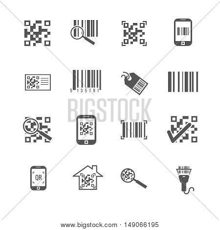 Scan bar and qr code vector icons. Information in barcode, digital qrcode illustration