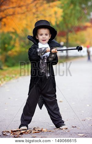 Cute Boy In The Park, Wearing Magician Costume For Halloween