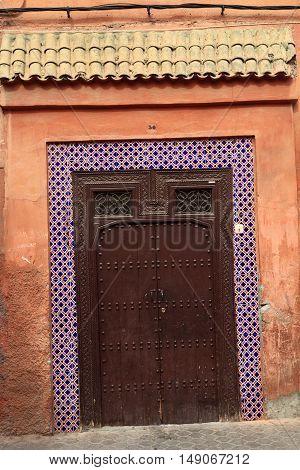 Door in Medina of Marrakesh, Morocco, Africa