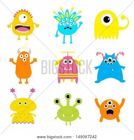 Monster big set. Cute cartoon scary character. Baby collection. White background Isolated. Happy Halloween card. Flat design. Vector illustration.
